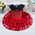 Crianças de varejo da menina mini vestido com ponto preto de lantejoulas vestido de festa de Natal vestido tutu menina minidress001