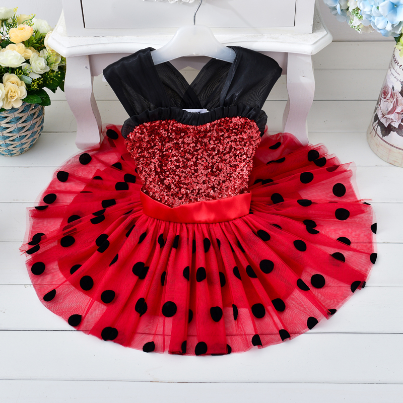 Buy Cheap Retail Kids girl mini dress with black dot sequined Christmas party dress girl tutu dress minidress001