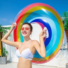Transparent Rainbow Swimming Ring Inflatable Lifebuoy Kid Adult Float Toy Pool Beach Party Decoration Supplies Hawaii Summer Fun