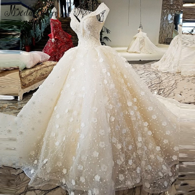 modabelle 2018 Beads Flower Wedding Dress Ball Gown Fashion Off The Shoulder Robe Mariage Princesse Shipping Lebanon Bridal Gown