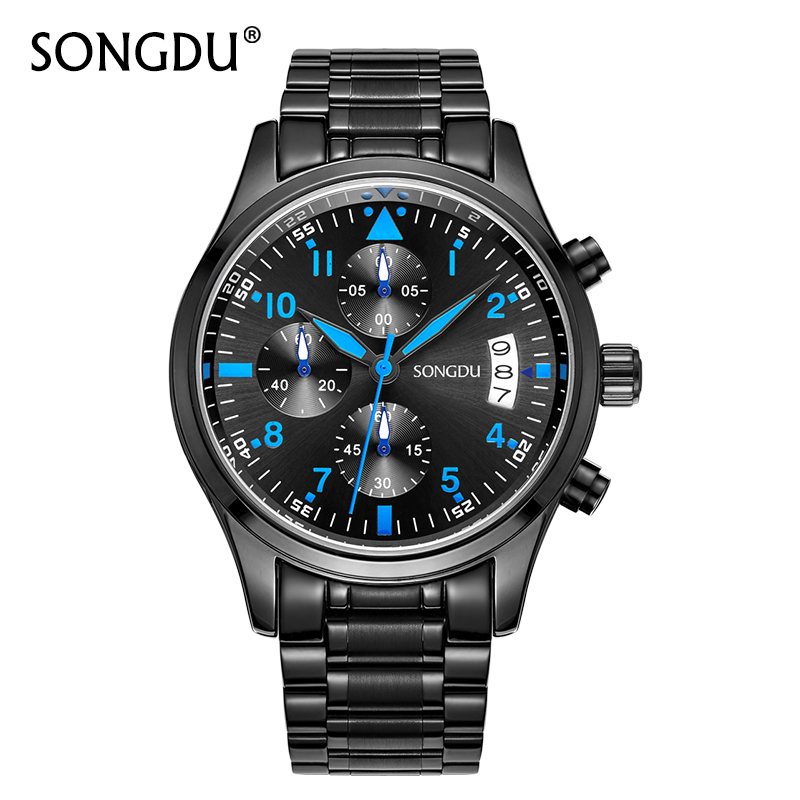 2017 SONGDU Luxury Brand Man Watch Stainless Steel Mesh Gift Sport  Fashion Sports Quartz Male Guarda  Waterproof