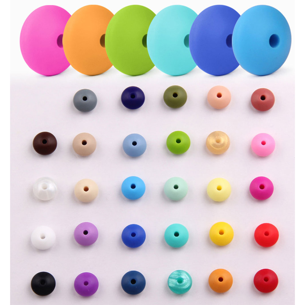 500pc/lot Lentils Silicone Beads Baby Teething Necklace Baby Teether Toy Accessories Silicon Pacifier Beads Bpa Free 12*12*7mm