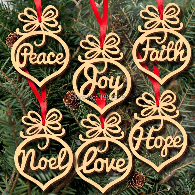 unidsset hollow letras de madera natural de colgar adornos de navidad para