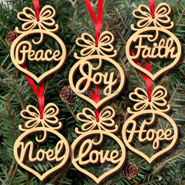 6pcsset hollow letters natural wood christmas ornaments hanging christmas tree decorations merry christmas gift - Wooden Christmas Tree Decorations