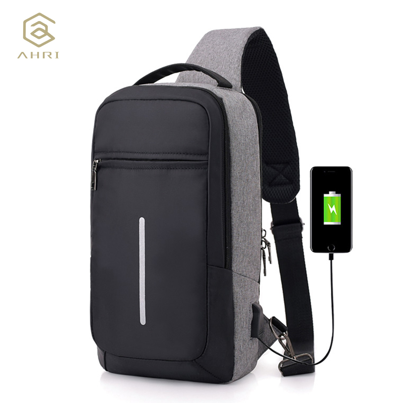 AHRI Anti Theft Travel Chest Bag Men Single Shoulder Strap Cross Body Bags USB Charging Pack Rucksack Male 2018 Chest Pack oxford waterproof cross body chest day back pack travel hike messenger water bottle kettle bag single shoulder bags rucksack