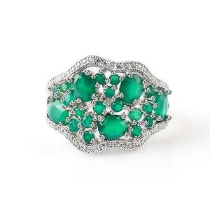 Image 2 - GEMS bale 14.31Ct doğal yeşil akik Vintage takı setleri saf 925 ayar gümüş taş küpe yüzük seti kadınlar için güzel