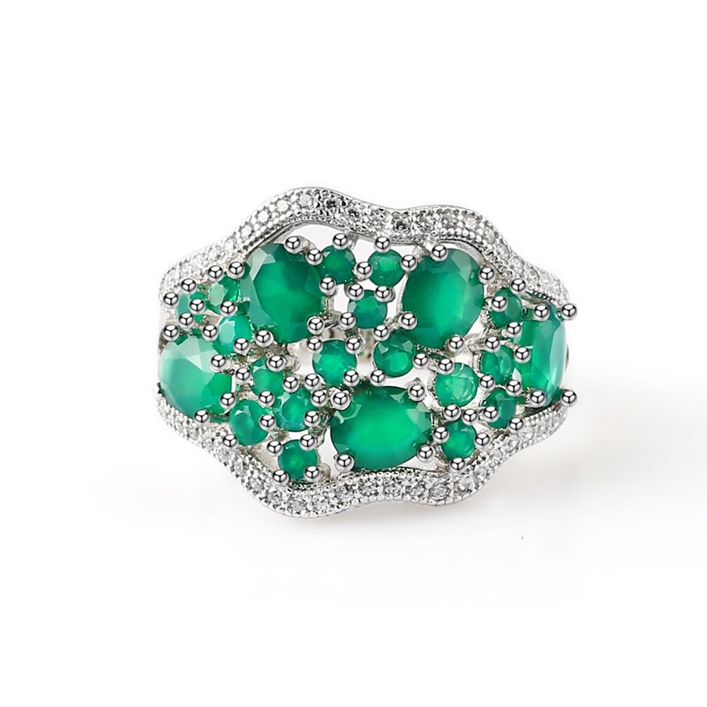 GEM'S balet 14.31Ct naturalny zielony agat biżuteria w stylu Vintage zestawy czysta 925 srebrne kolczyki z klejnotem pierścień zestaw dla kobiet w porządku w Zestawy biżuterii od Biżuteria i akcesoria na  Grupa 2