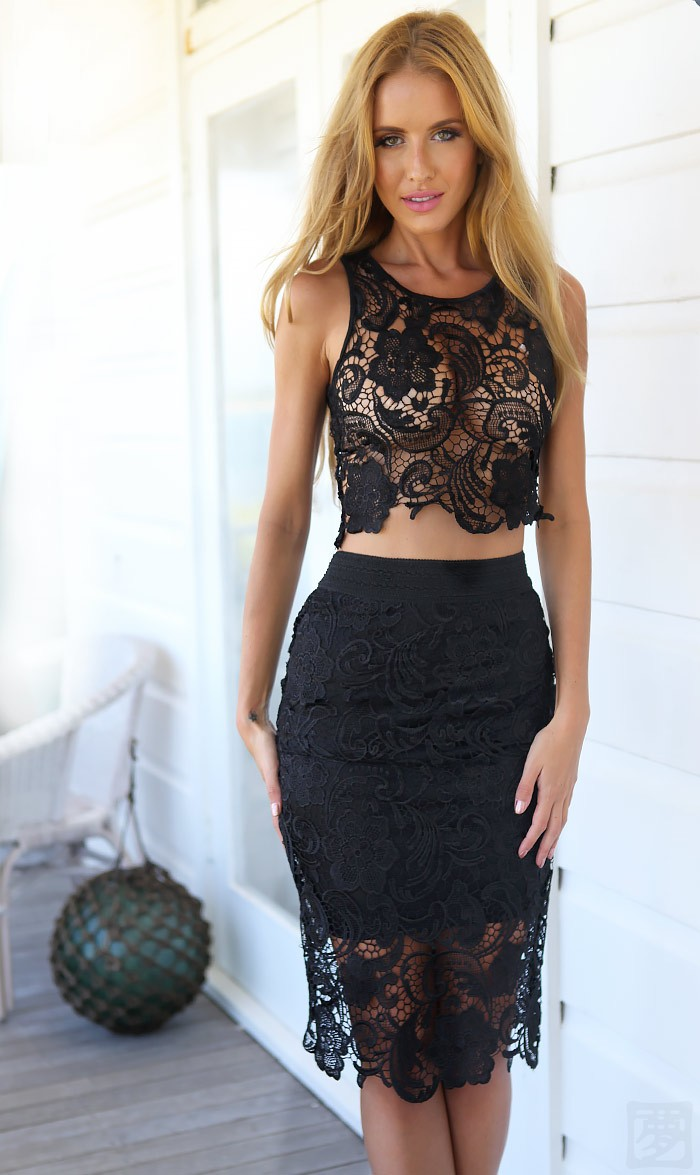 Floral Dress With Black Lace Top