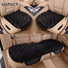 Gspscn 3 шт./компл. зимняя теплая автомобиля Чехлы для сидений мотоциклов Стульчики Детские Подушки для спереди заднем сиденье стула чёрный; коричневый автомобиля сиденья протектор