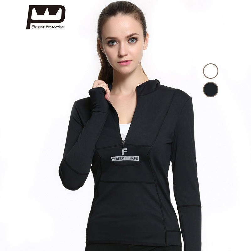 New Womens Long Sleeves Hoodies Front Zipper Yoga Shirt For Running Jogging Black White Sports Tops with Hat Breathable S-L 148 ...