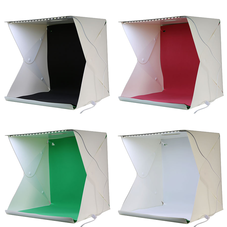 NEW Mini 30CM Folding Tabletop Studio Diffuse Soft Box with LED Light Black White Red Green Background Photo Studio Accessories