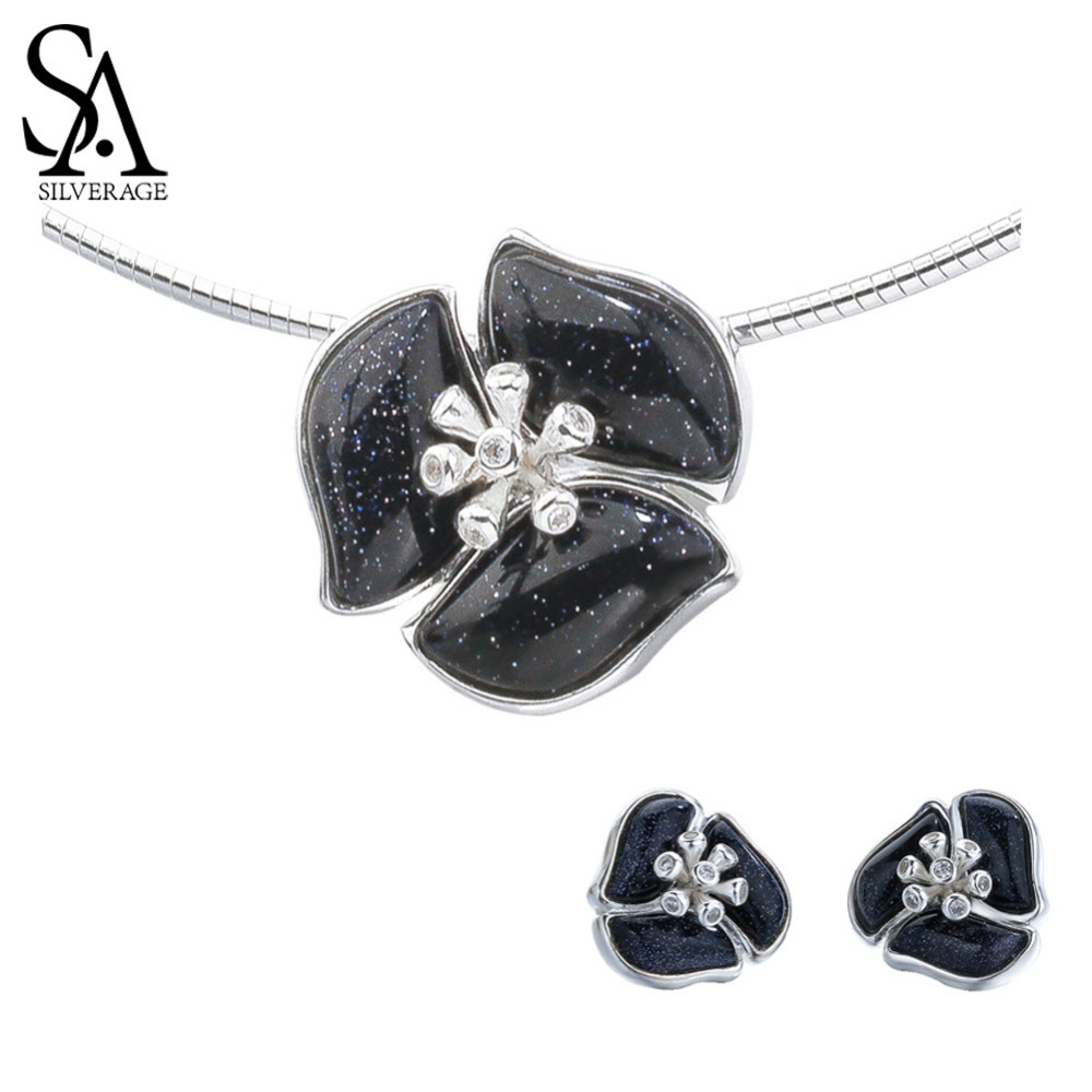 SA SILVERAGE 925 Sterling Silver Gemstone Stud Earrings Pendant Choker Necklaces Wedding Rings Jewelry Sets Black