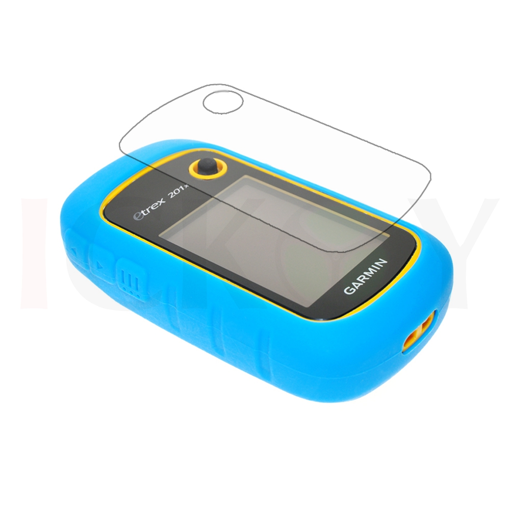 Outdoor Handheld GPS Silicon Rubber Protect Sky Blue Case Cover + LCD Screen Protector for Garmin eTrex 10 20 30 10x 20x 30x 201