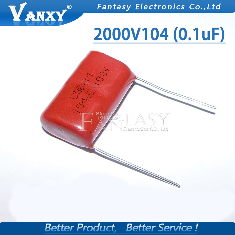 10PCS 0.1uF 2000V 2KV CBB 104 100NF Polypropylene Film Capacitor Pitch 25mm CBB81