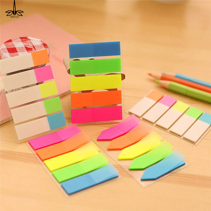 Top Selling Colorful PET Memo Pad Fluorescent  Sticky Notes Office School Kids