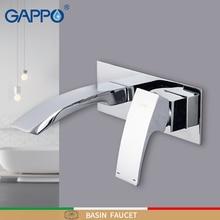 Grifo de baño montado en la pared de grifos de lavabo GAPPO, grifo de lavabo de baño de cascada, grifo de Mezclador de Baño de un solo mango de latón