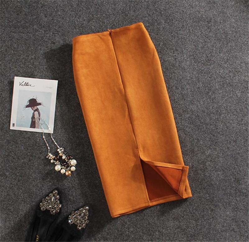 Женская замшевая юбка карандаш, модные весенне летние базовые облегающие трубчатые юбки карандаш с высокой талией, сексуальные тянущиеся Ж