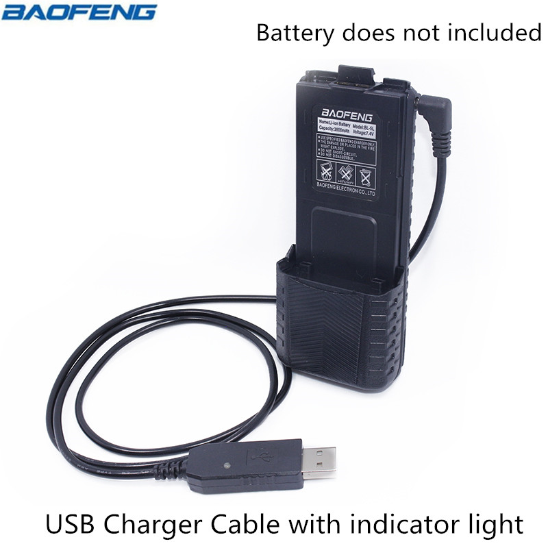 Baofeng 2.5mm USB Chargeur Câble avec voyant pour BaoFeng Talkie Walkie UV-5R Série 3800 mAh BL-5L Haute Capacité batterie