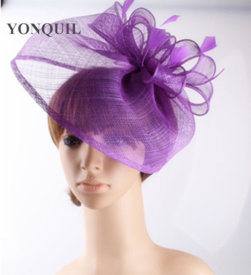 Lavender  Crinoline Fascinator with Feathers and Crystals Races, Weddings