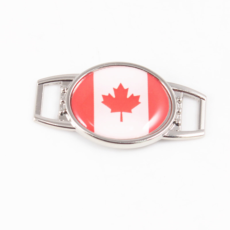 2018 Oval Canada Flag Pattern Shoelace Charms for Sport