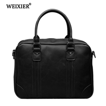 WEIXIER PU Man Bag Fashion High Quality Durable Leather Briefcase Laptop  Shoulder bags male Luxury