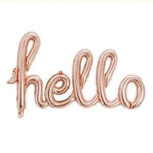 Image 3 - Große Größe 90x60cm Link Rose Gold Hallo Baby Folie Luftballons Baby Dusche 1st Geburtstag Party Dekoration Kugeln aufblasbare Luft Globos