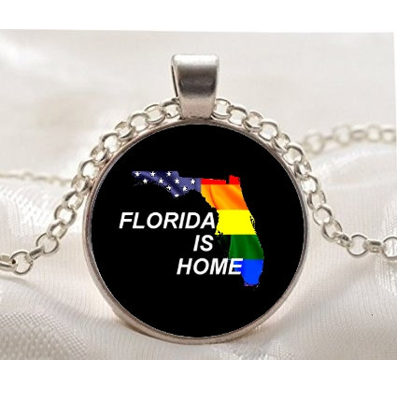 Fashion Rainbow Color Necklaces&Pendants for Women Jewelry Women Florida is Home-Gay Pride Rainbow State Pendant