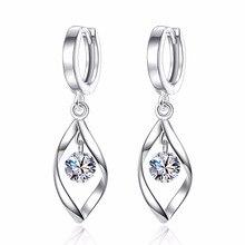 XIYANIKE 925 Sterling Silver Rotate Long Tassel Earrings Jewelry Brincos Fashion Wild Zircon Crystal Earrings For Women VES6757