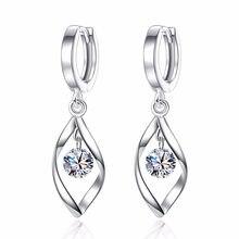 XIYANIKE-boucles d'oreilles en argent Sterling 925, bijoux à rotation de longs pignons, Brincos, à la mode, en Zircon et cristal pour femmes, VES6757