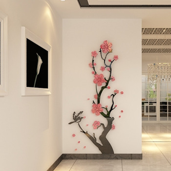 Chinese Style 3D Wall Stickers Plum Blossom Flowers Stickers Home Decorations Living Room Dinning Room Wall Decor Decals Acrylic 7