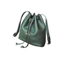 ใหม่2016 R Etroแฟชั่นผู้หญิงหนังPUถังถุงกระเป๋าสะพายสบายๆD Rawstring C Rossbodyกระเป๋าสำหรับผู้หญิงของMessengerกระเป๋าสีเขียว