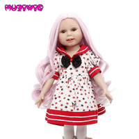 50% off Ombre Pink White Long Hair Doll Wig Made for American Doll with 26cm Head Circumference
