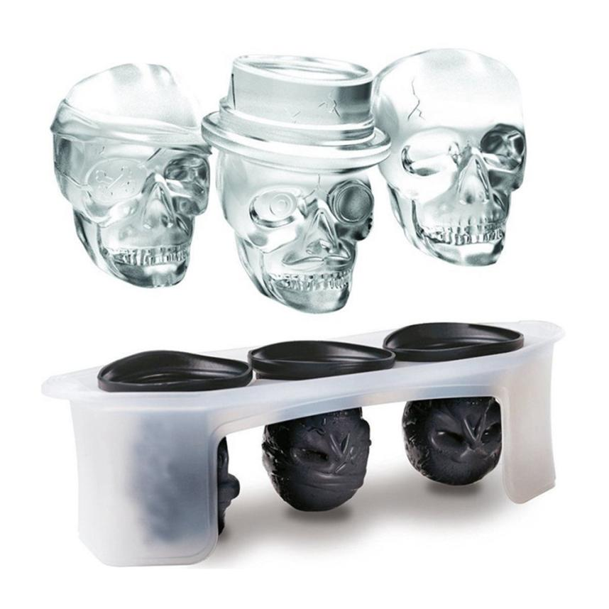 Hot Skull Shape 3D Ice Cube Mold Maker Silicone Whisky Wine Ice Cube Trays Maker Chocolate Mould Ice Genie Bar Party Supplies #M