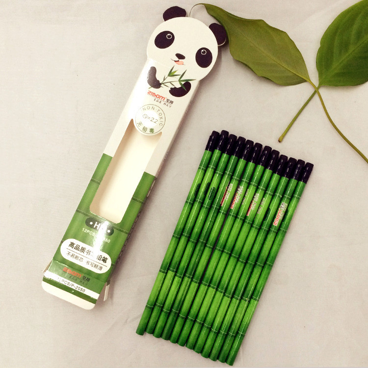 New Coming Student 12 Pieces A Set  Panda Bamboo Pencil On Sale For Children Gift Student Gift  High Quality Cute Freeshipping