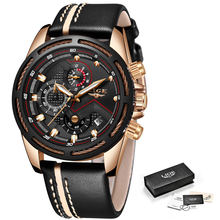 Relógio de Luxo Quartzo Couro Cronógrafo LIGE