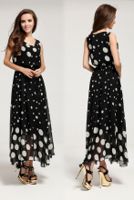 free shipping plus size black chiffon sleeveless tank top white dots floor  long maxi summer dress