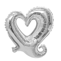 FBIL Heart Shape 18 Inch Foil Birthday Party Supplies Wedding Decor Balloons Lot Silver 50pcs