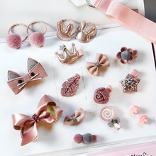18pcs Head wear Set Child Elastic Bow knot Hair Clips Crown Rabbit Flower Barrettes Hairpins Kids Girls Xmas Gift Jewelry(China)