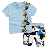 Children Clothing Minions Boys T Shirt Camouflage Shorts Pants Summer Casual Outfits Sport Suit For Kids
