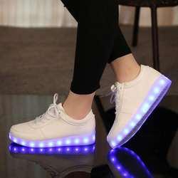 UncleJerry размер 31-46 Зарядное устройство USB светодио дный для детей и взрослых светящиеся кроссовки для мальчиков и девочек мужские и женские