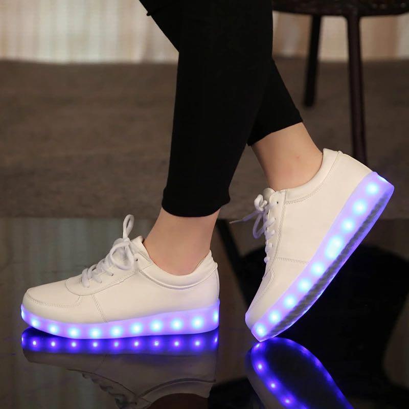UncleJerry tamaño 31-46 USB chargering Led zapatos para niños y adultos zapatillas de luz para niños niñas hombres mujeres zapatos de fiesta brillantes