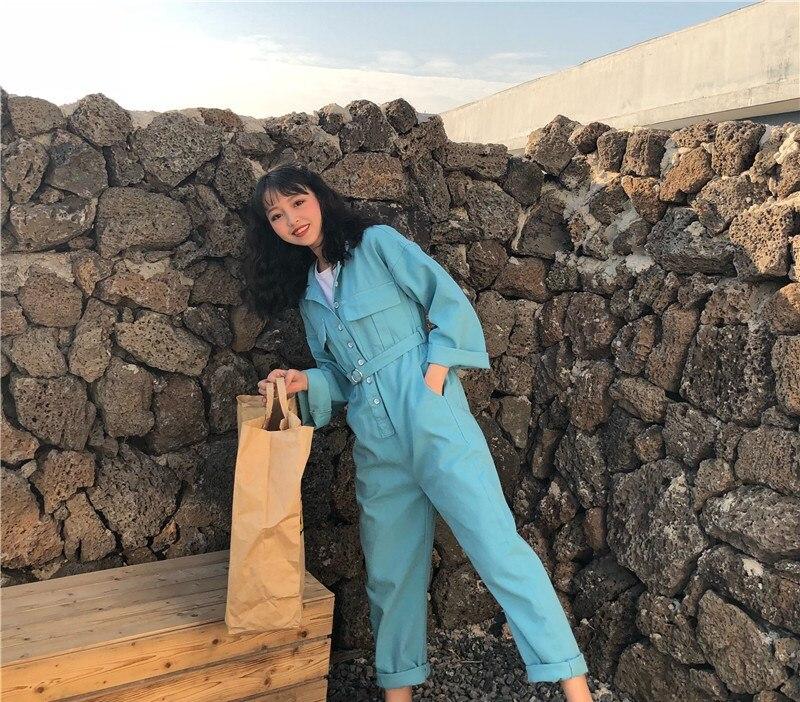 Mode Whitney Femmes Streetwear Jean Denim Coréenne Wang Automne Ceintures Lâche Barboteuse 2019 Printemps Style Combinaisons TnrwqTU7