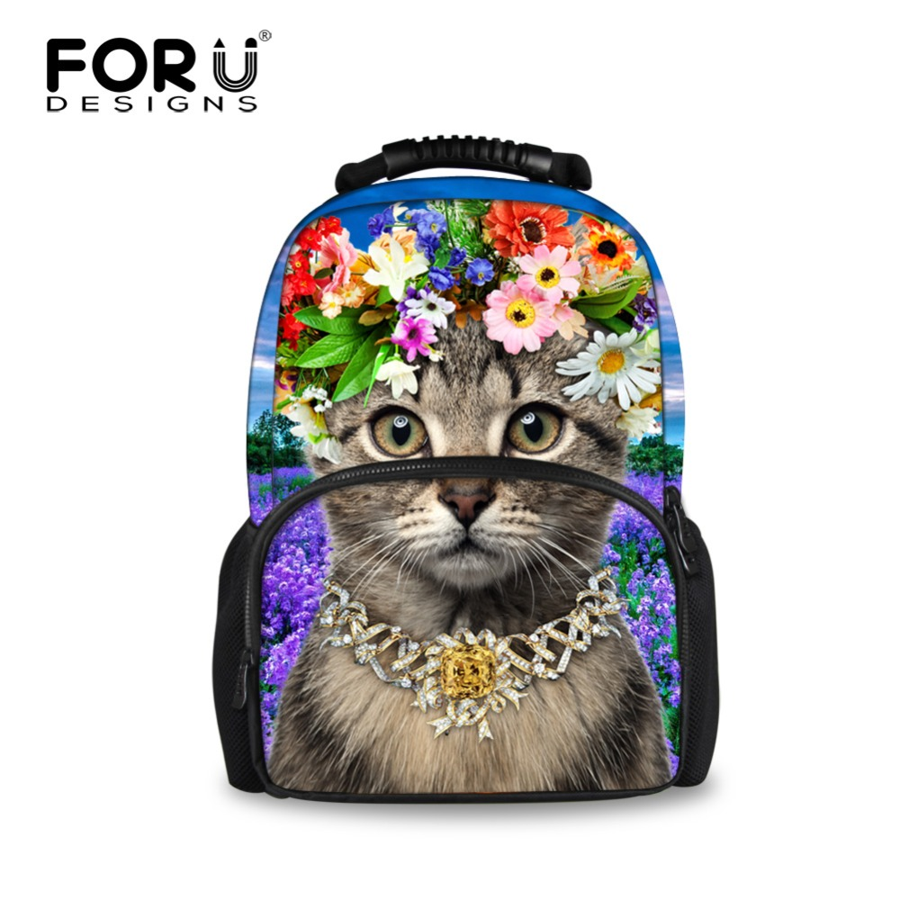FORUDESIGNS 3D cute cat women backpack animal backpack for teenage girls large capacity student casual laptop rucksack mochila tattoo arm leg sleeves sun protection cycling halloween party