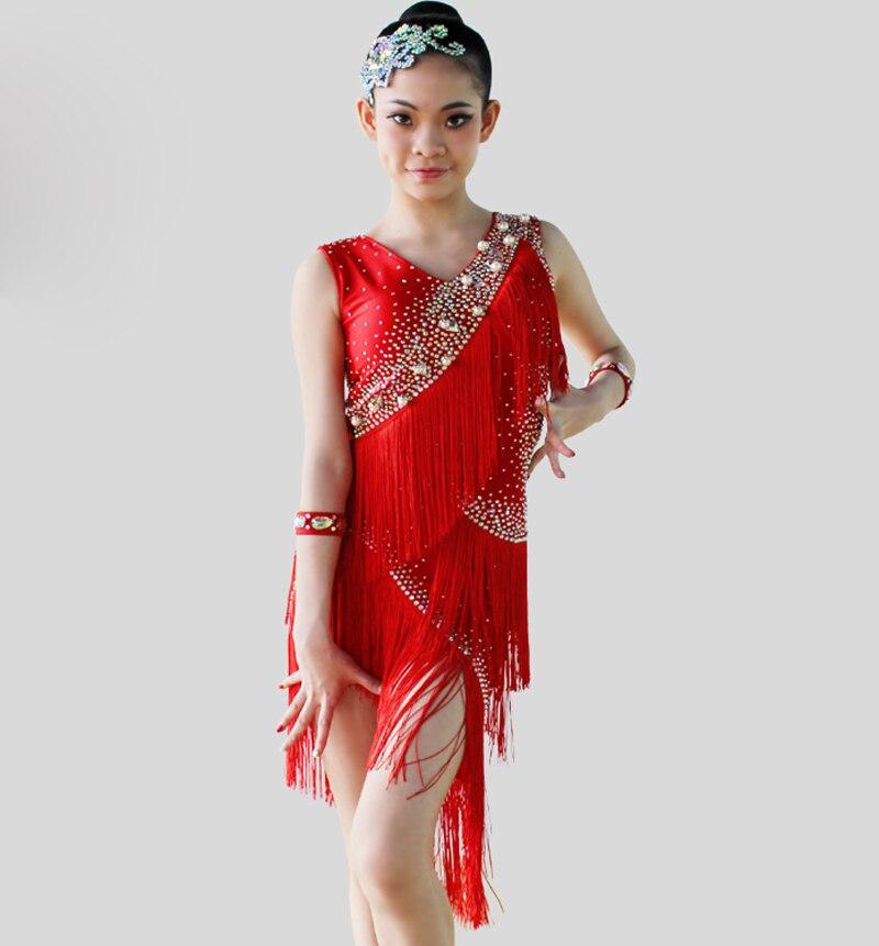 Latin Dance Nederdel til piger Skræddersyet 6 farver Latin-konkurrence Dansekjole Børn Høj kvalitet kvast Latin-kjole