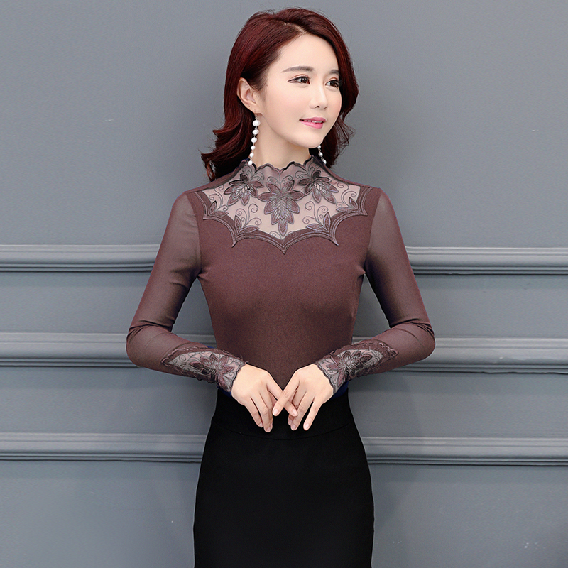 new arrival 2017 winter blouse Lace top women shirt female long sleeved shirt thick clothing blouse women bottoming D102 30