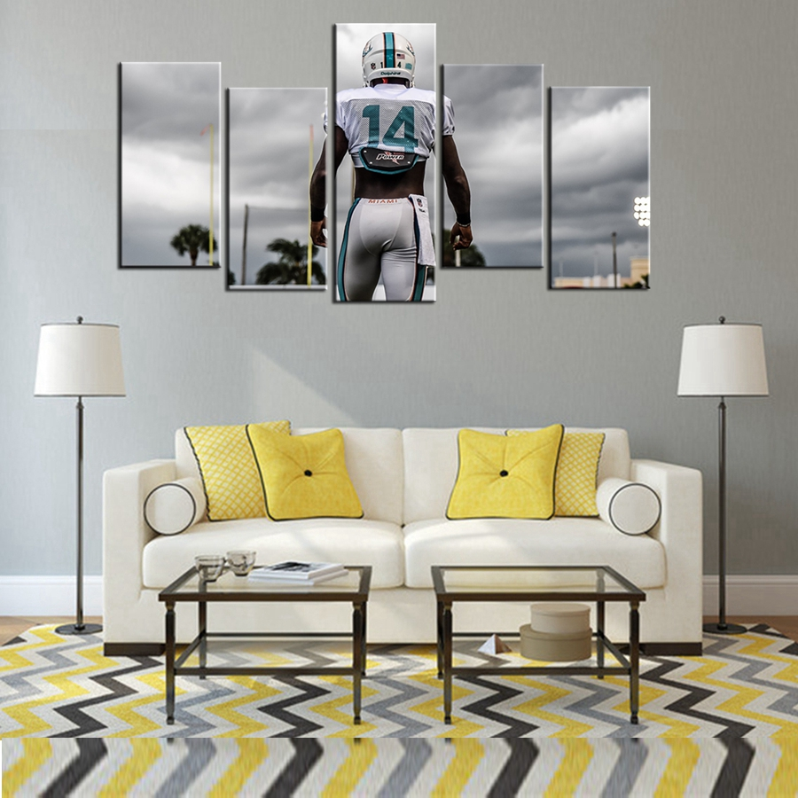 Cool poster miami dolphins oil painting on canvas wall art photo cool poster miami dolphins oil painting on canvas wall art photo room decor 5 pcsset high quality picture waterproof in painting calligraphy from home jeuxipadfo Image collections
