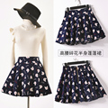 New Korean women floral belt cotton skirt swing culottes waisted skirt midi skirt jupe femme rokken faldas cortas rok jupe hiver