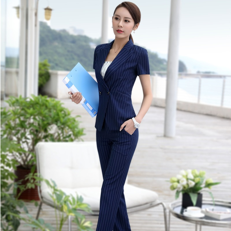 Formal Professional Business Suits Jackets And Pants Summer Short Sleeve Pantsuits Office Ladies Trousers Sets Fashion Striped
