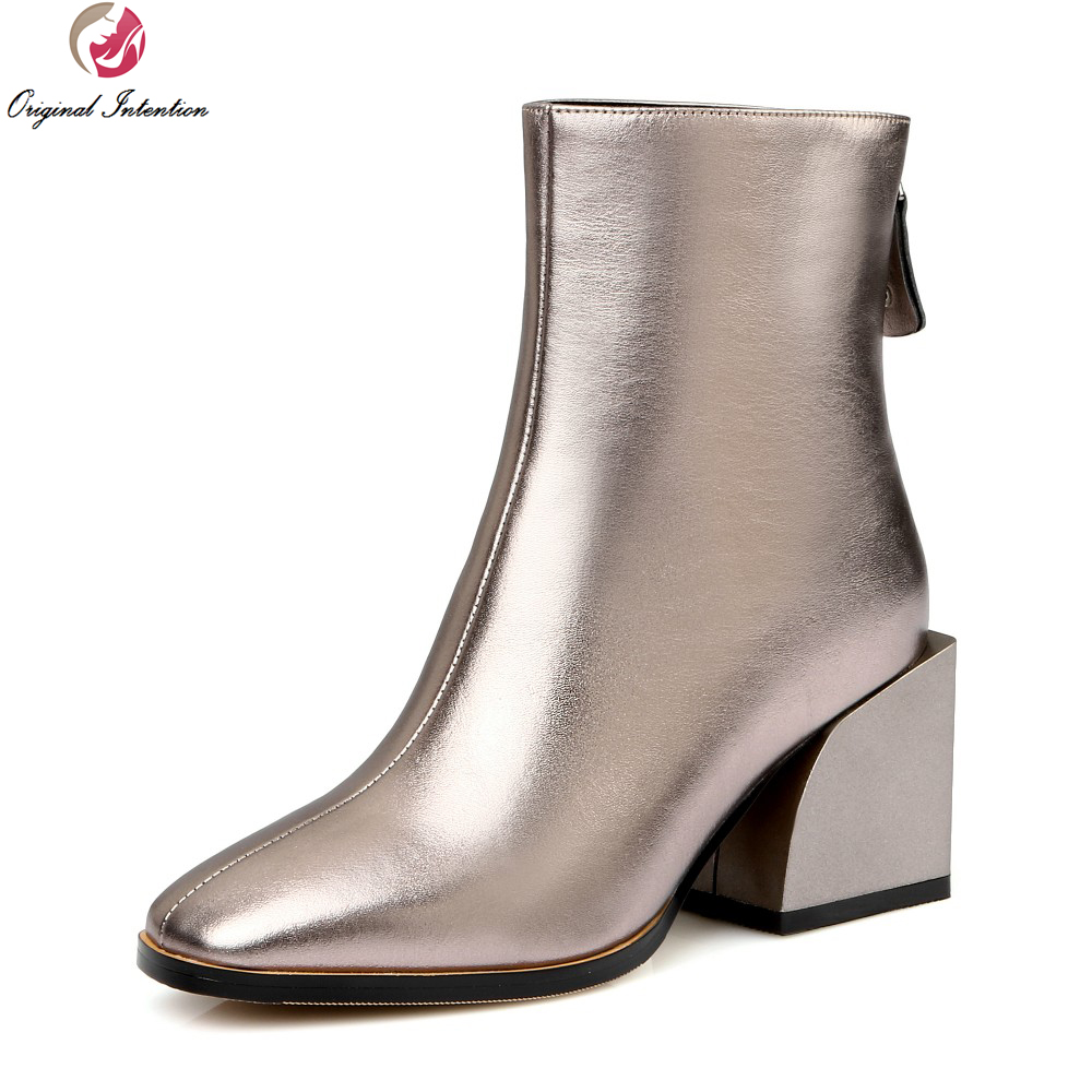 Original Intention Women Ankle Boots Fashion Square Toe Square Heels Boots High-quality Black Silver Shoes Woman US Size 4-10.5 купить