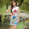 Tang Espectáculo 2016 Nueva Mujeres de La Vendimia de Algodón Jacquard Cheongsam Qipao Mini Vestido Sexy Vestido Tradicional Chino Qipao Corto Delgado
